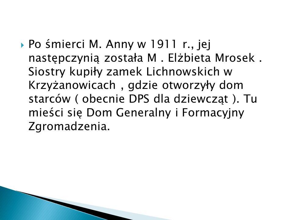 Po śmierci M. Anny w 1911 r., jej następczynią została M. Elżbieta Mrosek. Siostry kupiły zamek Lichnowskich w Krzyżanowicach, gdzie otworzyły dom sta