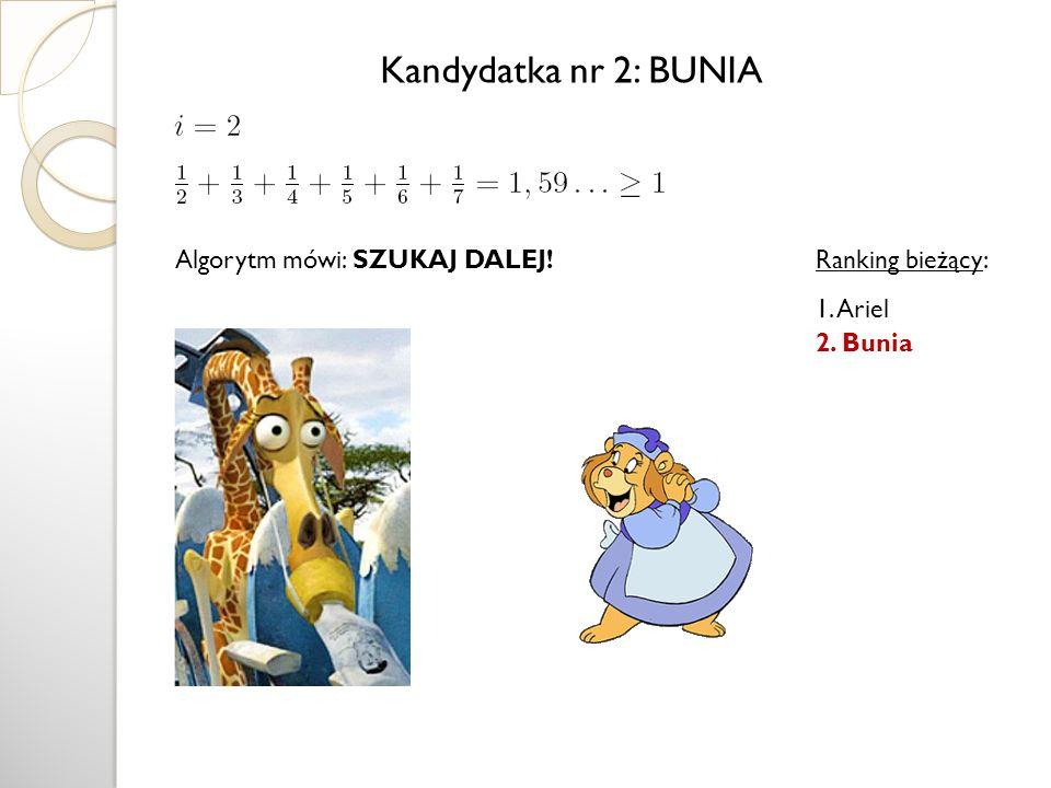 Algorytm mówi: SZUKAJ DALEJ! Kandydatka nr 2: BUNIA Ranking bieżący: 1. Ariel 2. Bunia