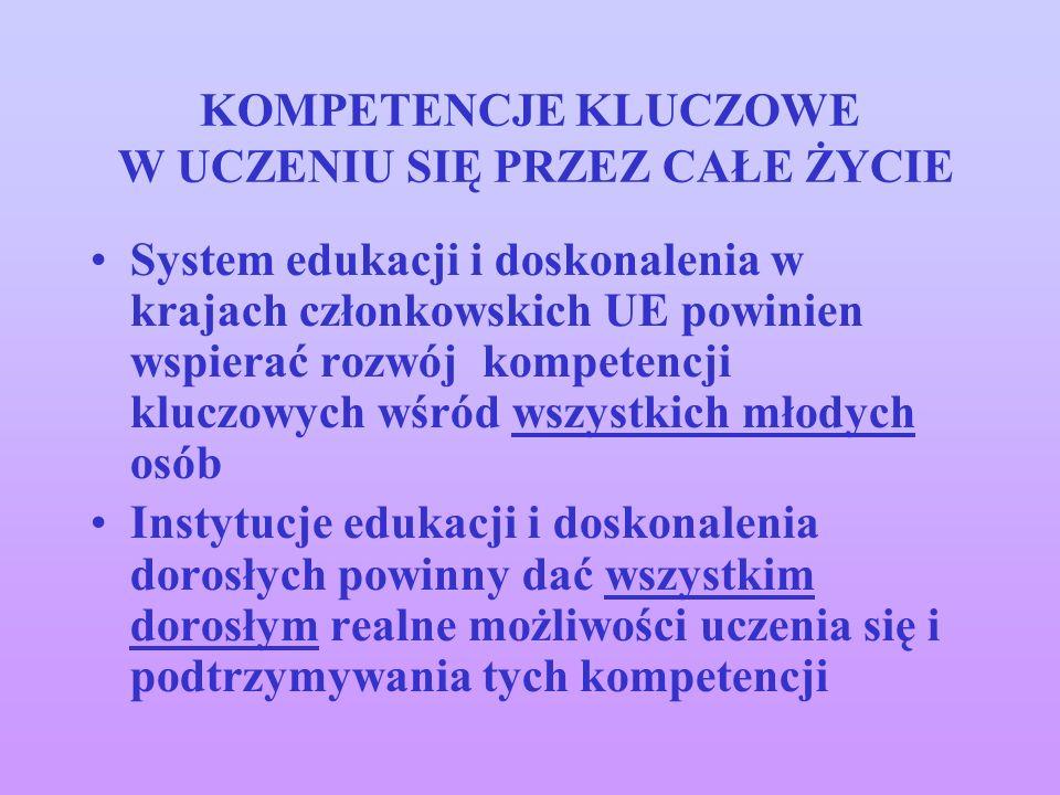 KOMPETENCJE KLUCZOWE W UCZENIU SIĘ PRZEZ CAŁE ŻYCIE System edukacji i doskonalenia w krajach członkowskich UE powinien wspierać rozwój kompetencji klu