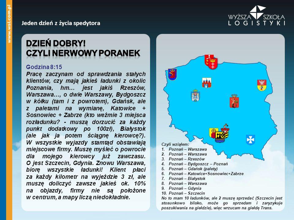 Czyli wziąłem: 1.Poznań – Warszawa 2.Poznań – Warszawa 3.Poznań – Rzeszów 4.Poznań – Bydgoszcz – Poznań 5.Poznań – Gdańsk (palety) 6.Poznań – Katowice