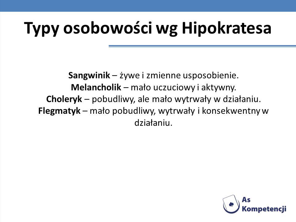 Typy osobowości wg Hipokratesa Sangwinik – żywe i zmienne usposobienie. Melancholik – mało uczuciowy i aktywny. Choleryk – pobudliwy, ale mało wytrwał