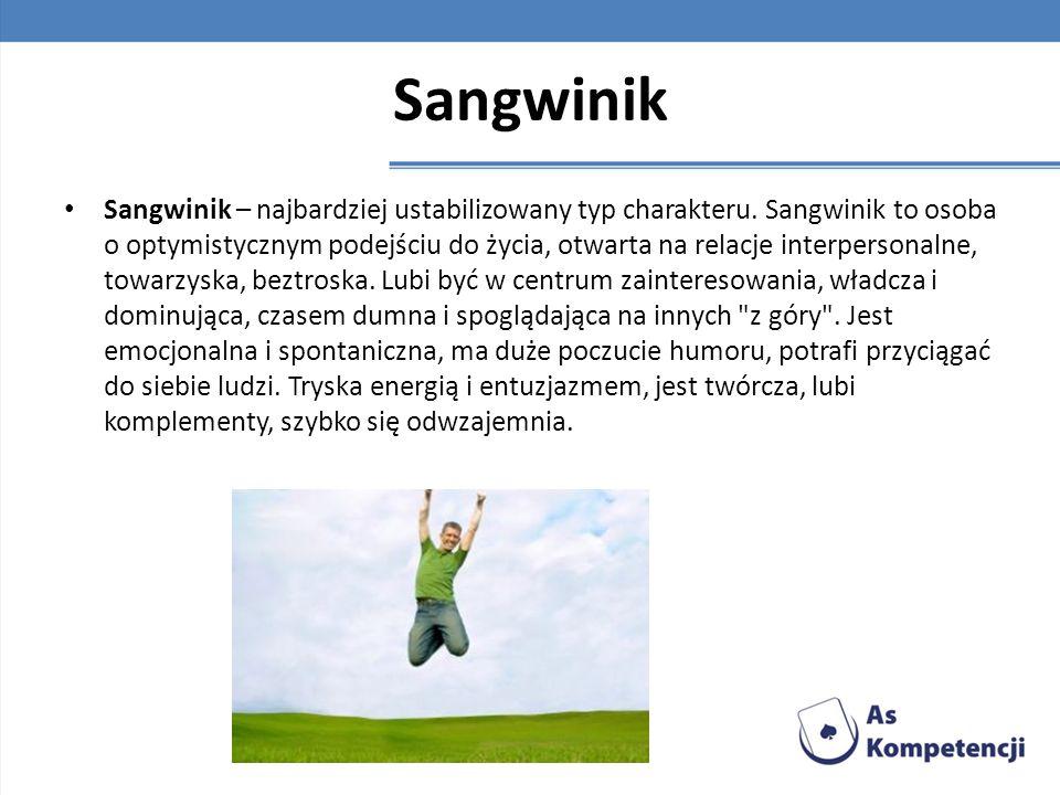 Sangwinik Sangwinik – najbardziej ustabilizowany typ charakteru. Sangwinik to osoba o optymistycznym podejściu do życia, otwarta na relacje interperso