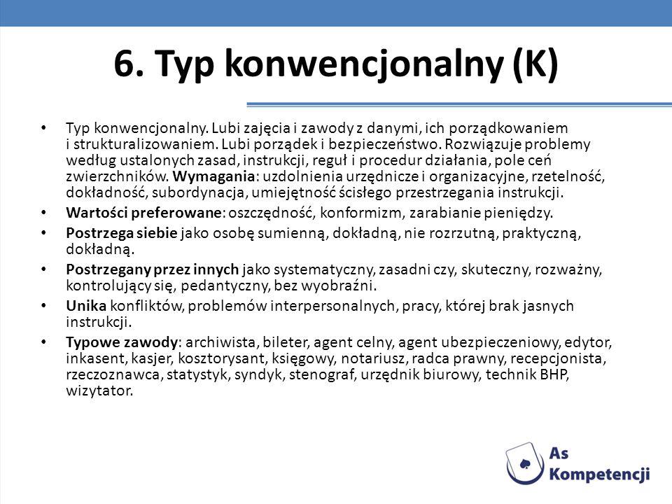 6. Typ konwencjonalny (K) Typ konwencjonalny. Lubi zajęcia i zawody z danymi, ich porządkowaniem i strukturalizowaniem. Lubi porządek i bezpieczeństwo