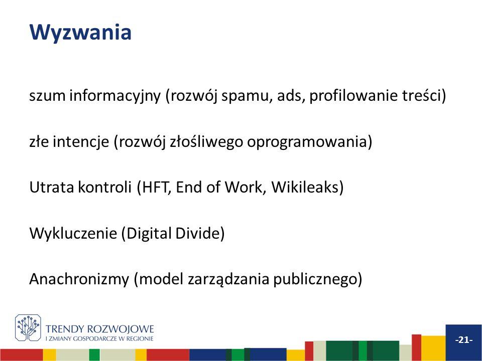 Wyzwania szum informacyjny (rozwój spamu, ads, profilowanie treści) złe intencje (rozwój złośliwego oprogramowania) Utrata kontroli (HFT, End of Work, Wikileaks) Wykluczenie (Digital Divide) Anachronizmy (model zarządzania publicznego) -21-