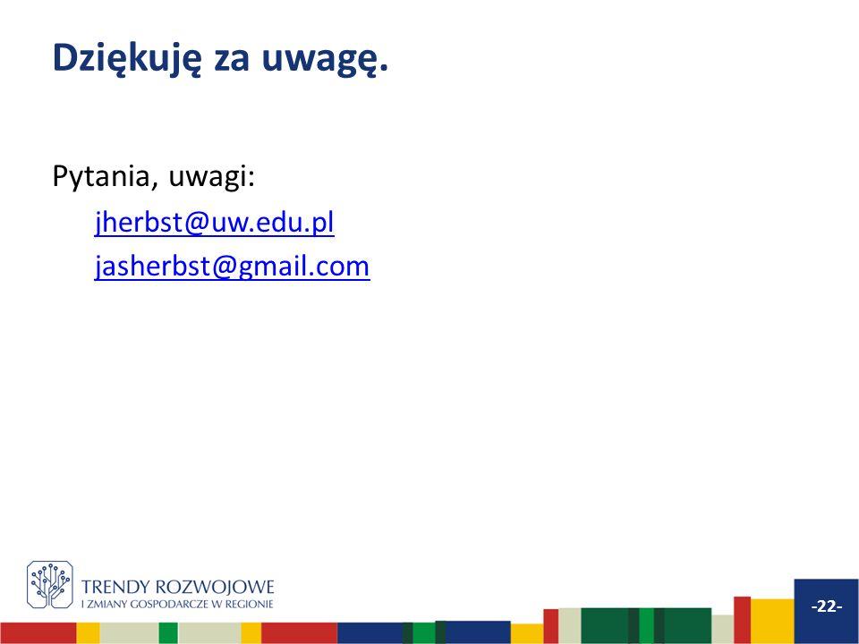 Dziękuję za uwagę. Pytania, uwagi: jherbst@uw.edu.pl jasherbst@gmail.com -22-
