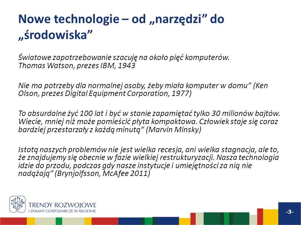 Nowe technologie – od narzędzi do środowiska Światowe zapotrzebowanie szacuję na około pięć komputerów. Thomas Watson, prezes IBM, 1943 Nie ma potrzeb