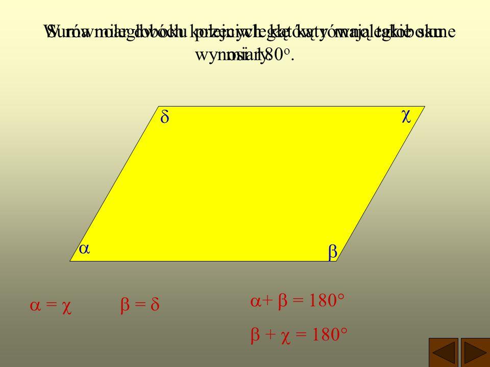 RÓWNOLEGŁOBOK Jest to czworokąt, który ma dwie pary boków równoległych. a a b b