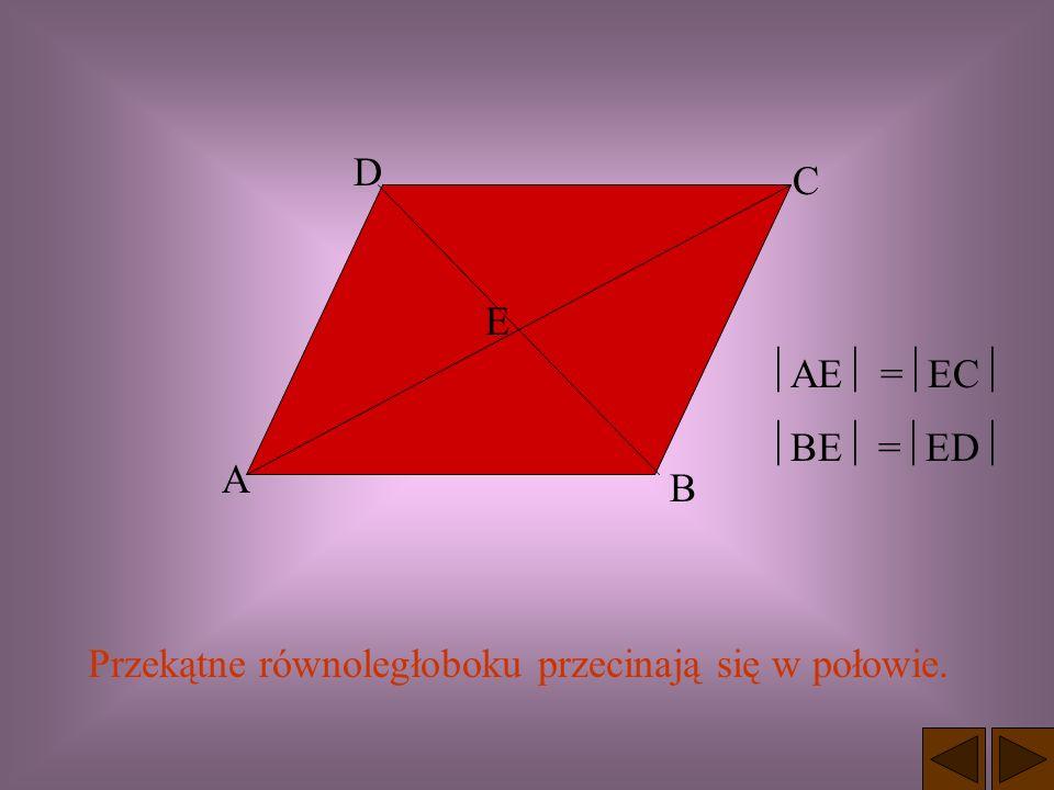 W równoległoboku przeciwległe kąty mają takie same miary. = = + = 180 Suma miar dwóch kolejnych kątów równoległoboku wynosi 180 o.