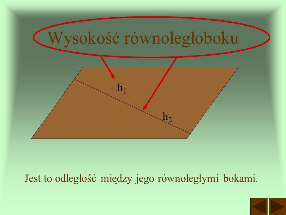 Przekątne równoległoboku przecinają się w połowie. A B C D E AE = EC BE = ED