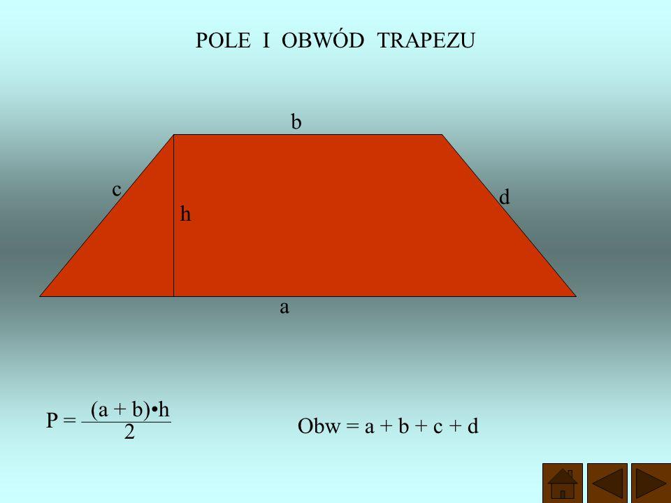Wysokość trapezu Jest to odległość między podstawami trapezu h