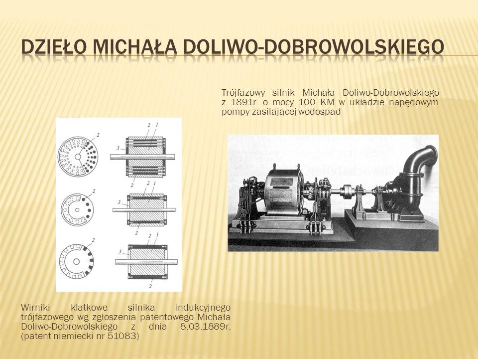 Wirniki klatkowe silnika indukcyjnego trójfazowego wg zgłoszenia patentowego Michała Doliwo-Dobrowolskiego z dnia 8.03.1889r. (patent niemiecki nr 510