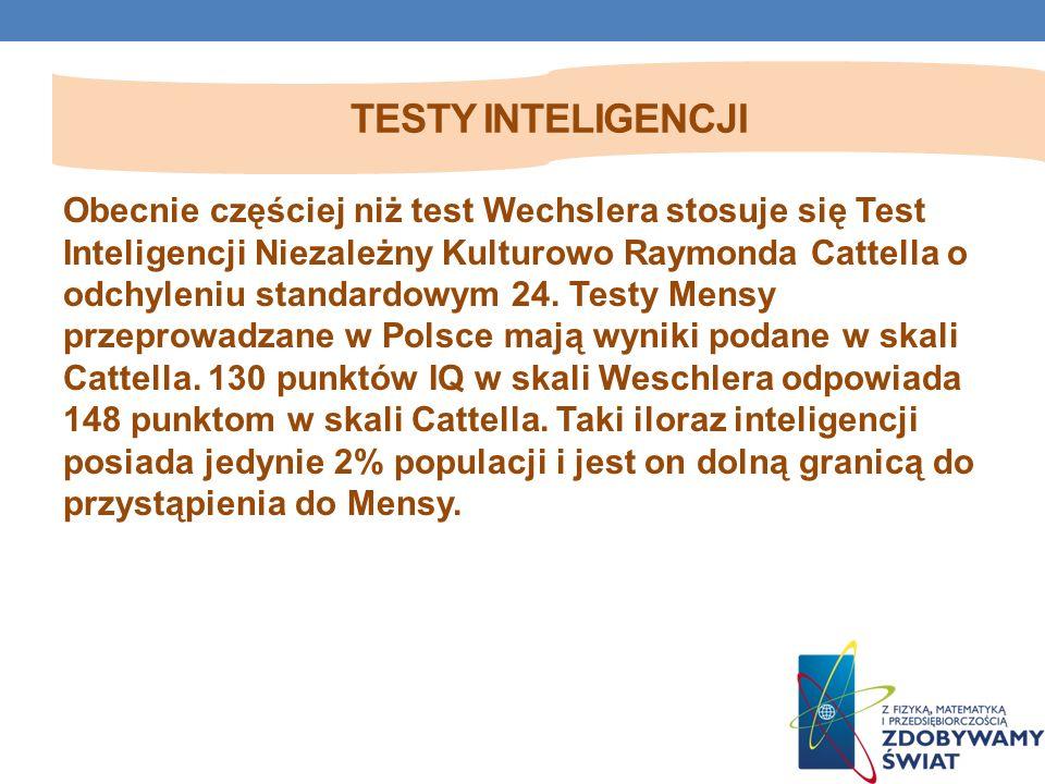 TESTY INTELIGENCJI Obecnie częściej niż test Wechslera stosuje się Test Inteligencji Niezależny Kulturowo Raymonda Cattella o odchyleniu standardowym 24.