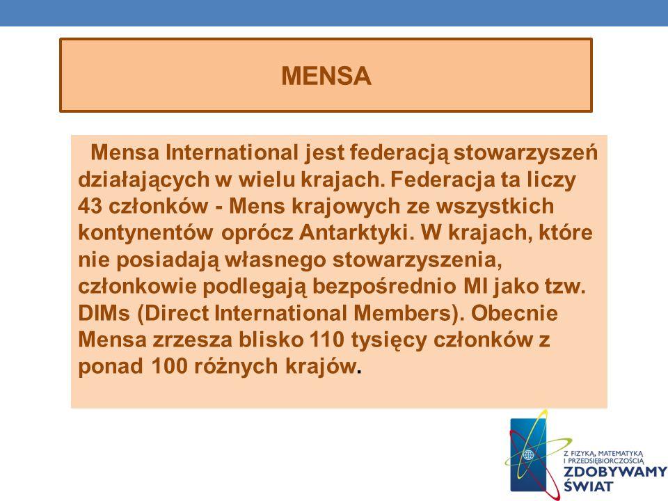 Mensa International jest federacją stowarzyszeń działających w wielu krajach. Federacja ta liczy 43 członków - Mens krajowych ze wszystkich kontynentó