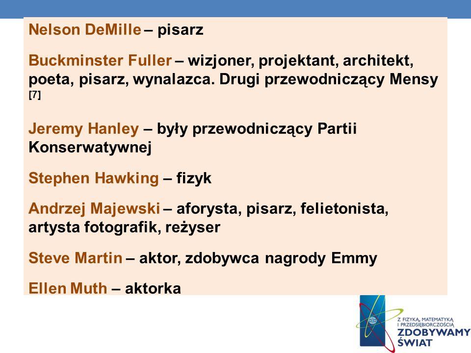 Nelson DeMille – pisarz Buckminster Fuller – wizjoner, projektant, architekt, poeta, pisarz, wynalazca. Drugi przewodniczący Mensy [7] Jeremy Hanley –