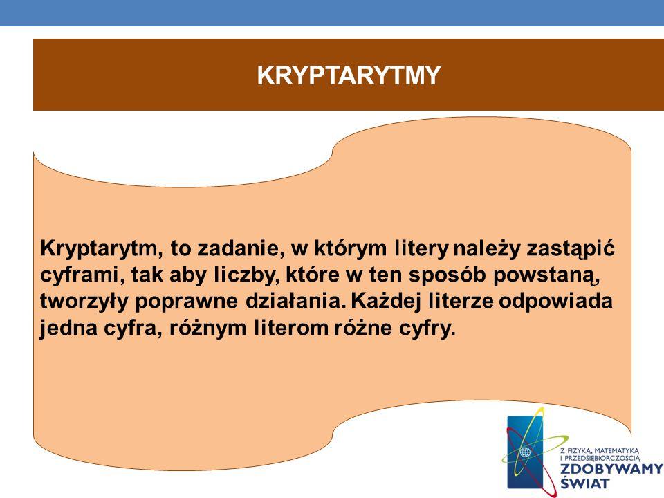 KRYPTARYTMY Kryptarytm, to zadanie, w którym litery należy zastąpić cyframi, tak aby liczby, które w ten sposób powstaną, tworzyły poprawne działania.
