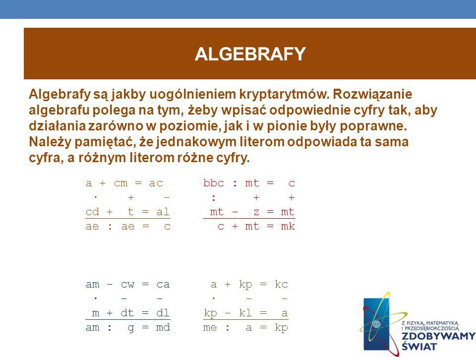 ALGEBRAFY Algebrafy są jakby uogólnieniem kryptarytmów. Rozwiązanie algebrafu polega na tym, żeby wpisać odpowiednie cyfry tak, aby działania zarówno