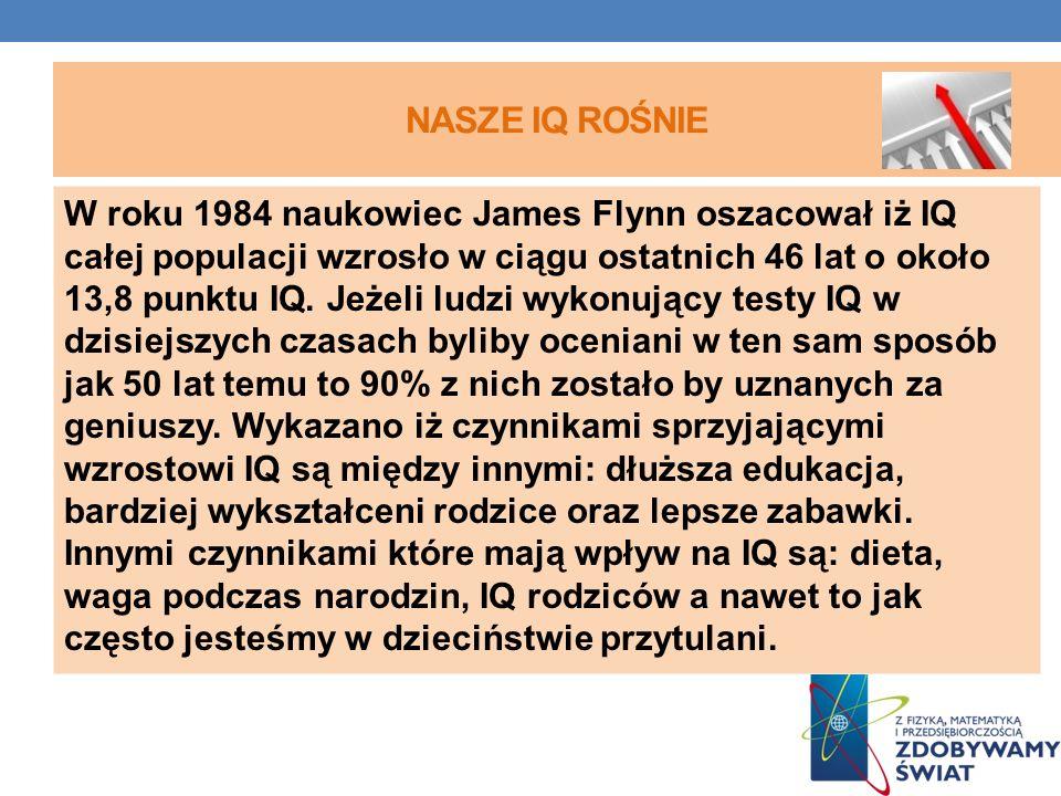 NASZE IQ ROŚNIE W roku 1984 naukowiec James Flynn oszacował iż IQ całej populacji wzrosło w ciągu ostatnich 46 lat o około 13,8 punktu IQ. Jeżeli ludz