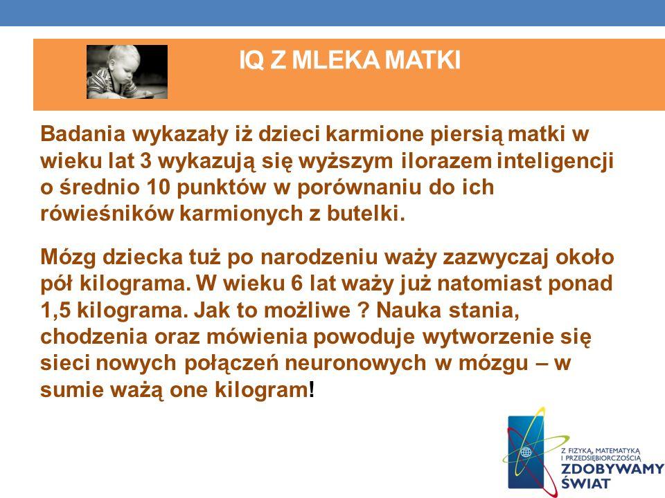 IQ Z MLEKA MATKI Badania wykazały iż dzieci karmione piersią matki w wieku lat 3 wykazują się wyższym ilorazem inteligencji o średnio 10 punktów w por