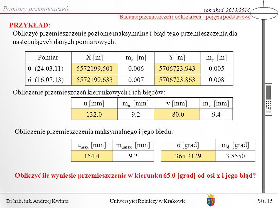 Dr hab. inż. Andrzej Kwinta Str. 15 Uniwersytet Rolniczy w Krakowie Pomiary przemieszczeń rok akad. 2013/2014 Badanie przemieszczeń i odkształceń – po