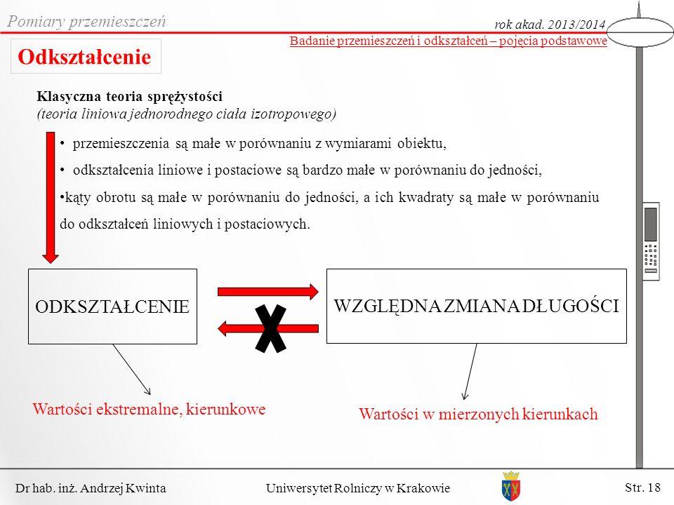 Dr hab. inż. Andrzej Kwinta Str. 18 Uniwersytet Rolniczy w Krakowie Pomiary przemieszczeń rok akad. 2013/2014 Badanie przemieszczeń i odkształceń – po