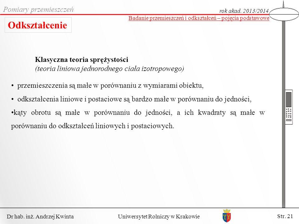 Dr hab. inż. Andrzej Kwinta Str. 21 Uniwersytet Rolniczy w Krakowie Pomiary przemieszczeń rok akad. 2013/2014 Badanie przemieszczeń i odkształceń – po