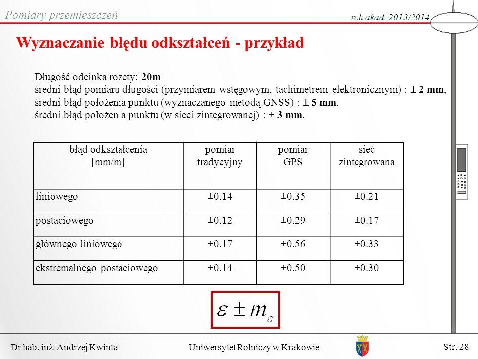 Dr hab.inż. Andrzej Kwinta Str. 28 Uniwersytet Rolniczy w Krakowie Pomiary przemieszczeń rok akad.