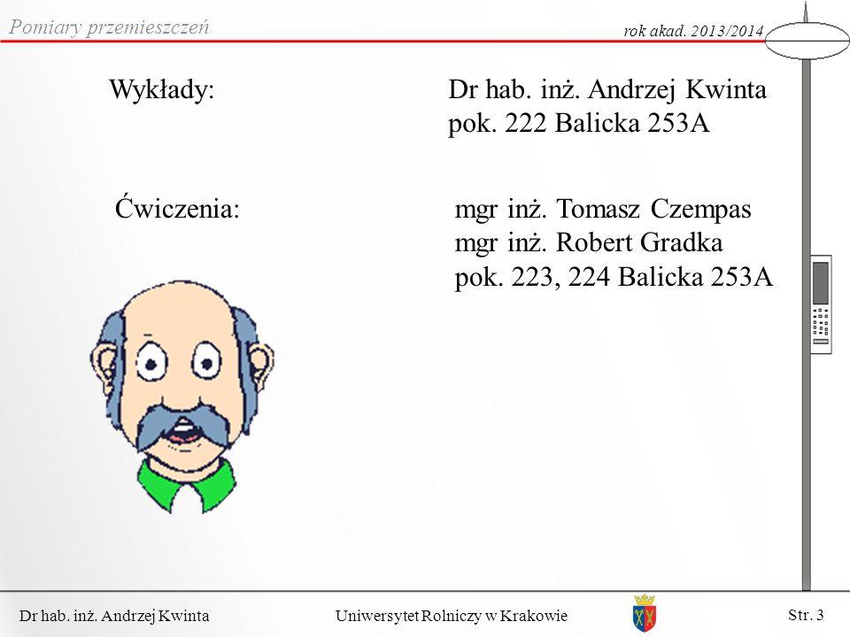 Dr hab.inż. Andrzej Kwinta Str. 3 Uniwersytet Rolniczy w Krakowie Wykłady:Dr hab.