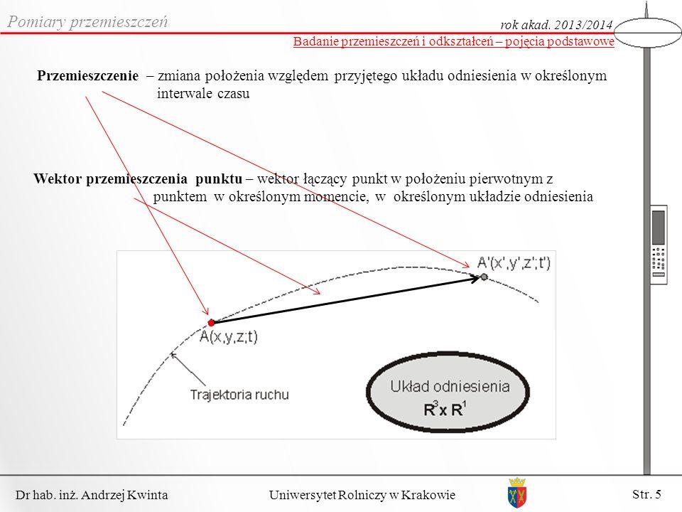 Dr hab.inż. Andrzej Kwinta Str. 5 Uniwersytet Rolniczy w Krakowie Pomiary przemieszczeń rok akad.
