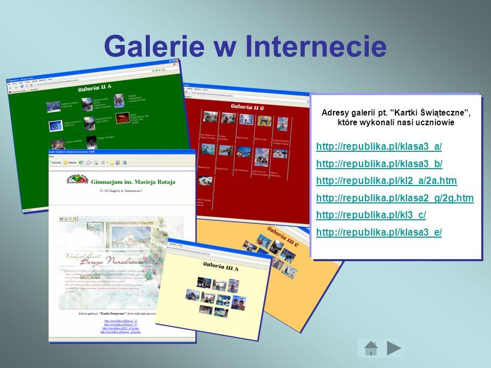 Galerie w Internecie Adresy galerii pt.