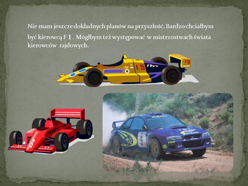 Nie mam jeszcze dokładnych planów na przyszłość. Bardzo chciałbym być kierowcą F 1. Mógłbym też występować w mistrzostwach świata kierowców rajdowych.