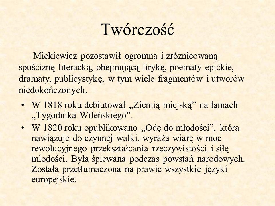 W roku 1822 został wydany w Wilnie pierwszy tomik Poezji, który zawierał Ballady i romanse.