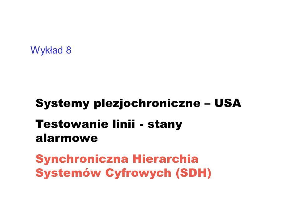 Wykład 8 Systemy plezjochroniczne – USA Testowanie linii - stany alarmowe Synchroniczna Hierarchia Systemów Cyfrowych (SDH)
