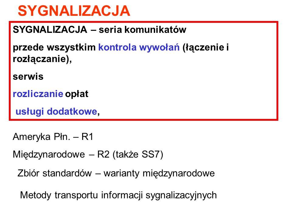SYGNALIZACJA Ameryka Płn. – R1 Międzynarodowe – R2 (także SS7) Zbiór standardów – warianty międzynarodowe Metody transportu informacji sygnalizacyjnyc