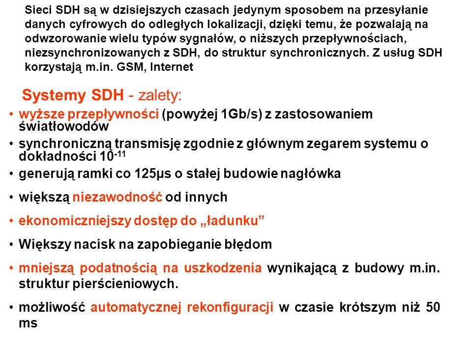 Sieci SDH są w dzisiejszych czasach jedynym sposobem na przesyłanie danych cyfrowych do odległych lokalizacji, dzięki temu, że pozwalają na odwzorowan