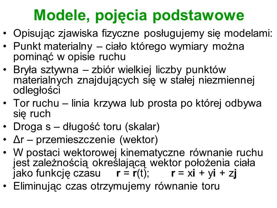 Modele, pojęcia podstawowe Opisując zjawiska fizyczne posługujemy się modelami: Punkt materialny – ciało którego wymiary można pominąć w opisie ruchu