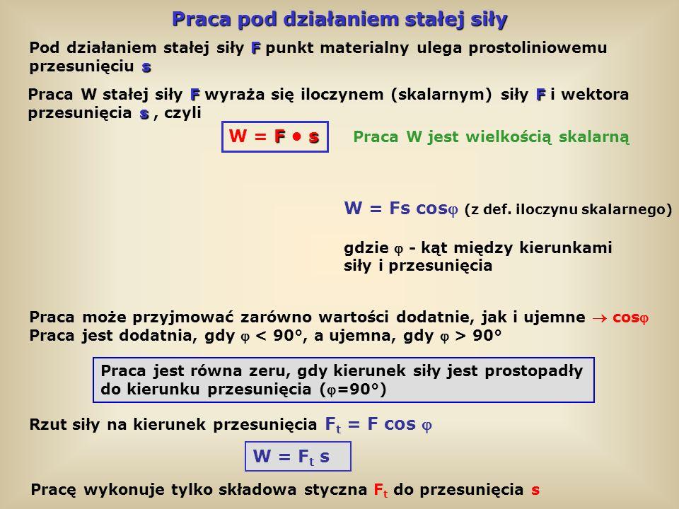 Praca pod działaniem zmiennej siły Wartość siły zależy od położenia ciała: F t (s) W = F t s dW = F t ds W = F t ds 0 s W przypadku zmiennej siły praca wyraża się całką oznaczoną: Praca na drodze ds