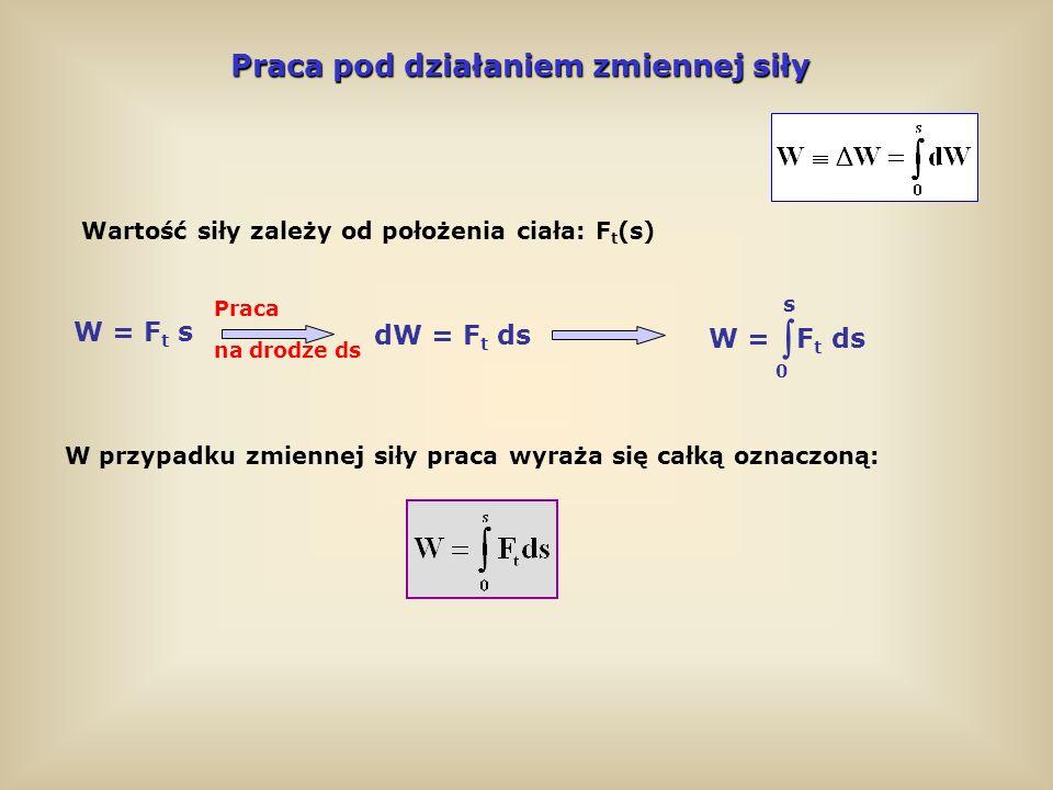Moc Moc Moc – wielkość wskazująca, jaką pracę może wykonać dany układ w jednostce czasu Średnia moc: P śr = W t Moc chwilowa: P = lim = W t dW dt t 0 jest pochodną pracy względem czasu P = = = F t v dW dt F t ds dt Moc danej siły jest proporcjonalna do prędkości W zapisie wektorowym (iloczyn skalarny): Fv P = F v