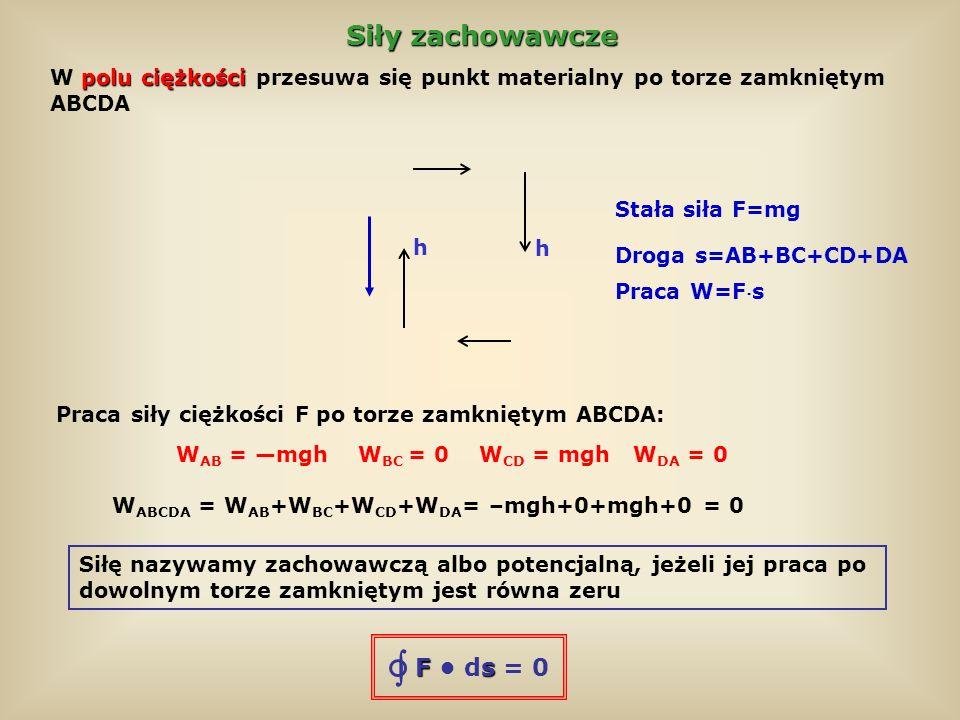 Siły zachowawcze Praca po zamkniętym torze O1P2O dla siły zachowawczej jest równa zeru W O1P2O = W O1P + W P2O = 0 Praca przy przeciwnym kierunku przesunięcia różni się tylko znakiem: W P2O = –W O2P W O1P – W O2P = 0 czyli W O1P = W O2P Praca siły zachowawczej nie zależy od kształtu drogi, a tylko od wyboru punktu początkowego i końcowego (czyli punktu O i P) zachowawczych Przykłady sił zachowawczych: siła ciężkości, siła sprężystości nie zachowawcze Siły nie zachowawcze: siła tarcia, siły oporu powietrza i cieczy Fs F ds = 0 1 2