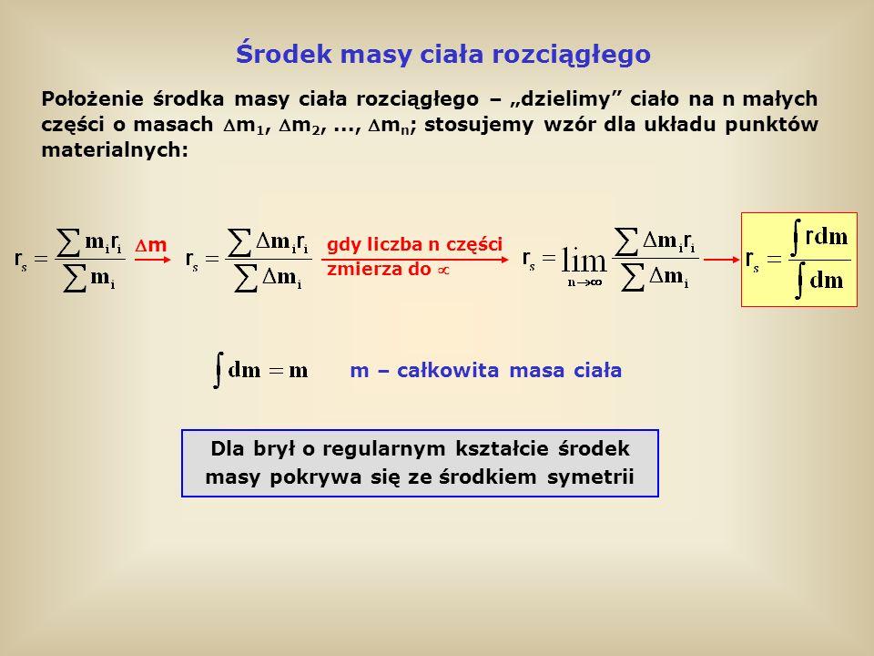 Siły wewnętrzne i zewnętrzne Układ trzech punktów materialnych Na punkty materialne w układzie działają siły wewnętrzne i zewnętrzne Siły wewnętrzne Siły wewnętrzne – siły oddziaływania wzajemnego punktów materialnych należących do jednego układu; działają między każdą parą punktów i zgodnie z III zasadą dynamiki są równe co do wartości i przeciwnie skierowane F j-ty punkt działa na i-ty punkt siłą F ij : Siły zewnętrzne Siły zewnętrzne działające na układ – pochodzą od ciał spoza układu siły wewnętrzne siły zewnętrzne III zasada dynamiki Newtona