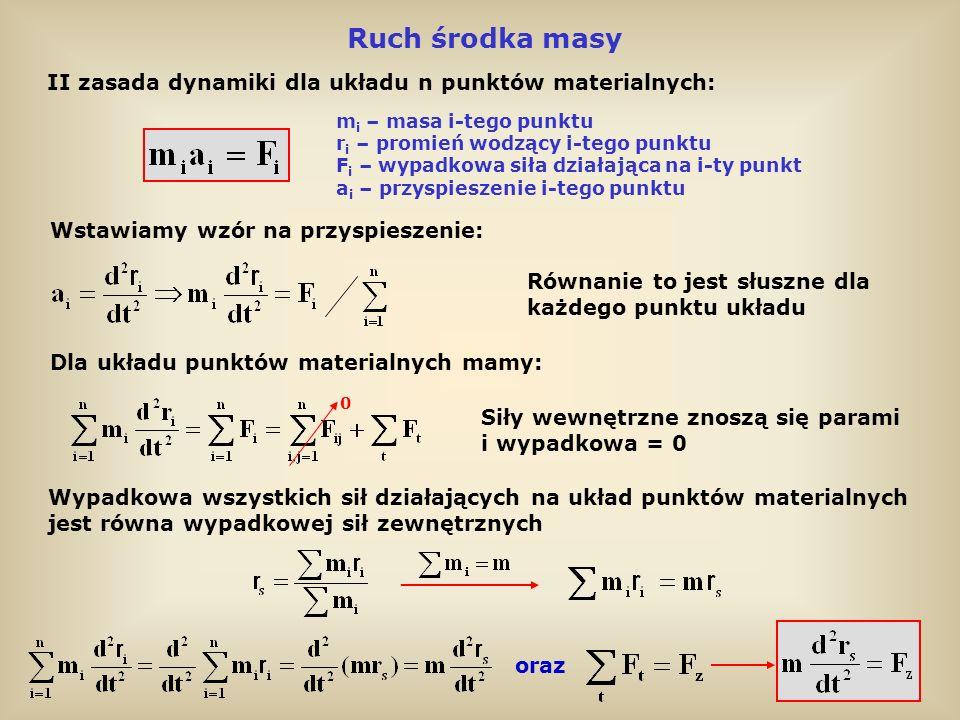 Twierdzenie o ruchu środka masy Środek masy układu punktów materialnych porusza się tak, jak punkt materialny o masie m równej całkowitej masie układu, na który działa siła F z równa wypadkowej sił zewnętrznych Gdy F z =0, to przyspieszenie środka masy jest = 0, czyli środek masy, albo porusza się ruchem jednostajnym i prostoliniowym, albo spoczywa