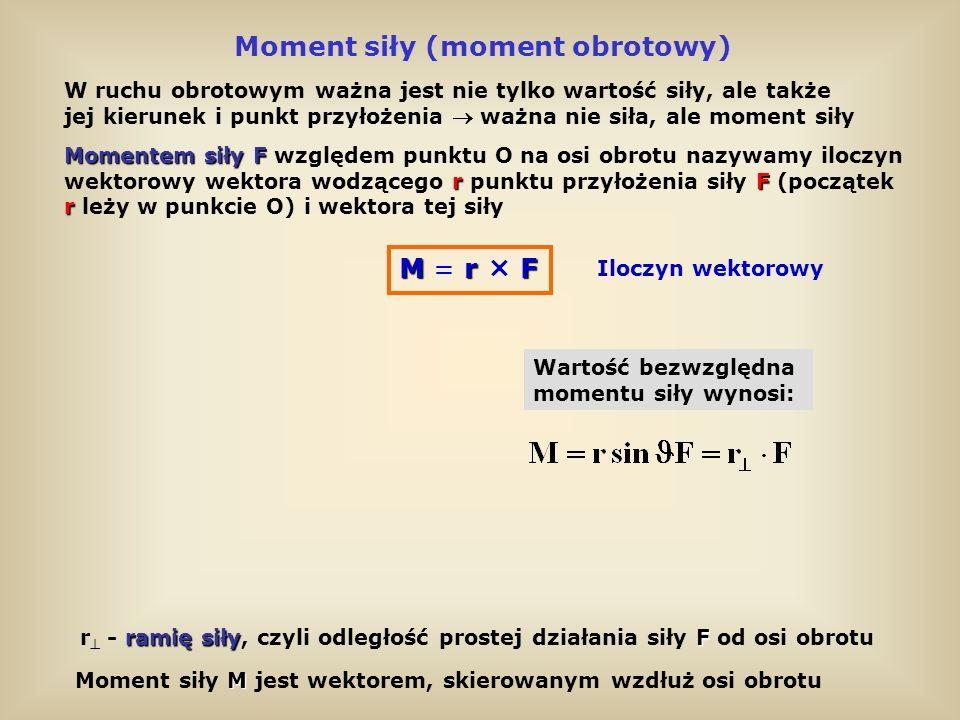 Moment siły (moment obrotowy) W ruchu obrotowym ważna jest nie tylko wartość siły, ale także jej kierunek i punkt przyłożenia ważna nie siła, ale mome