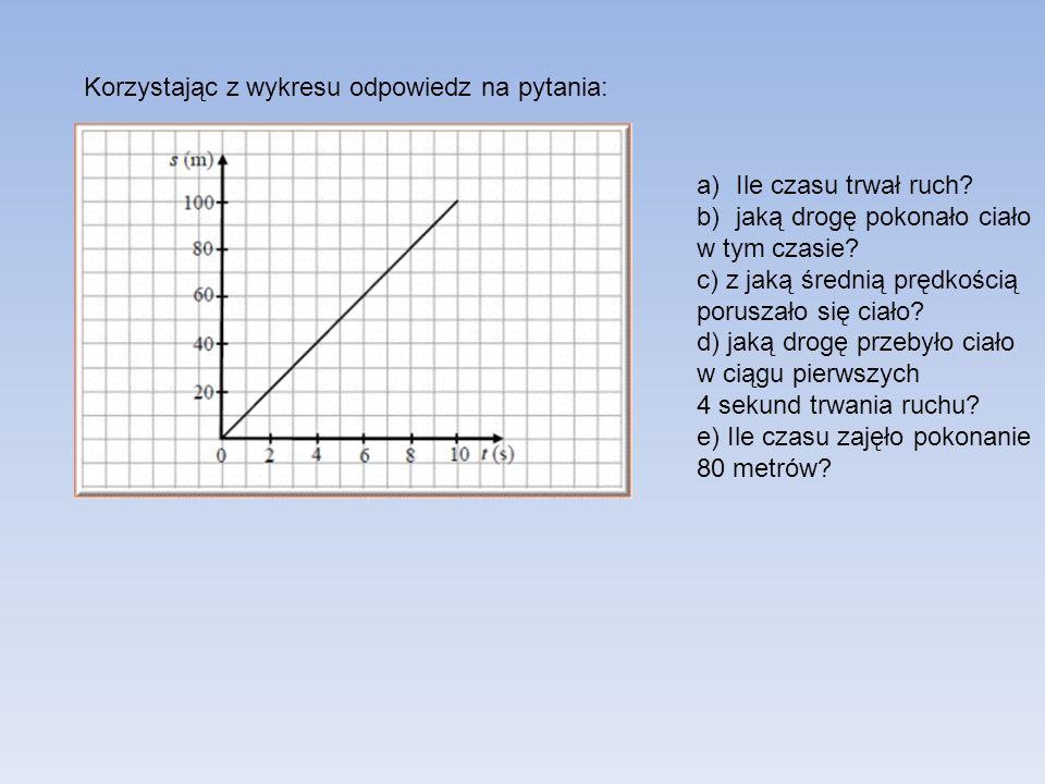 Korzystając z wykresu odpowiedz na pytania: a)Ile czasu trwał ruch? b)jaką drogę pokonało ciało w tym czasie? c) z jaką średnią prędkością poruszało s