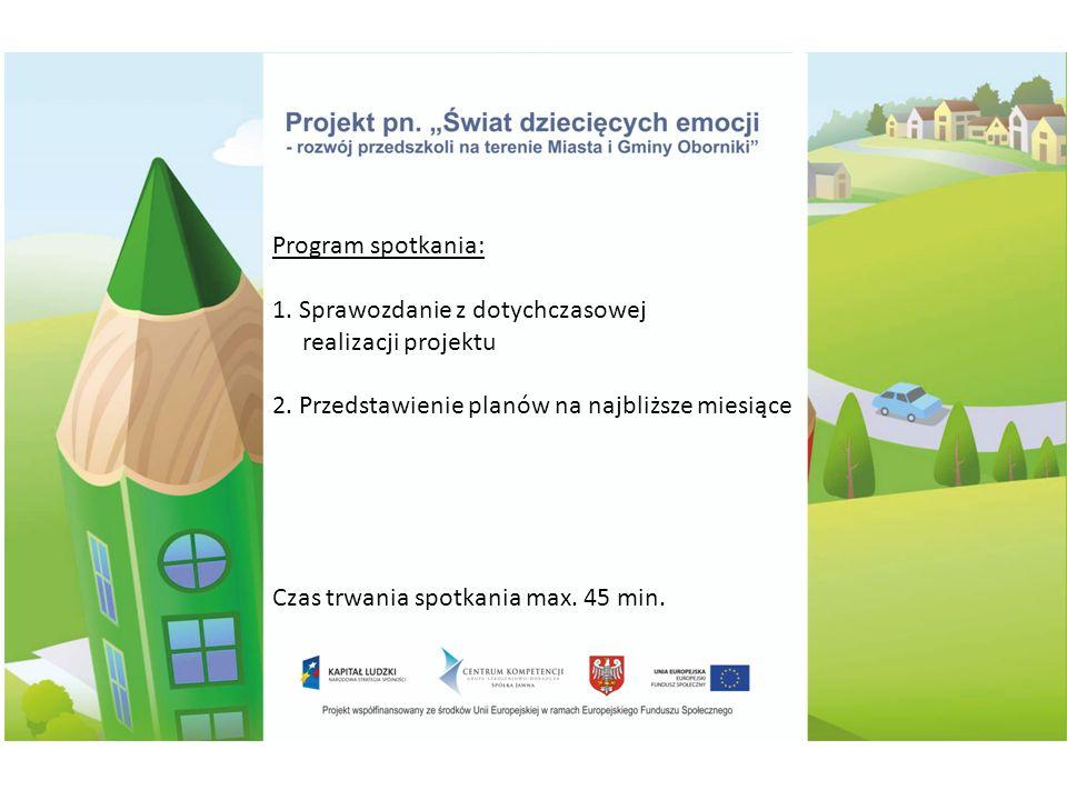 Program spotkania: 1. Sprawozdanie z dotychczasowej realizacji projektu 2.