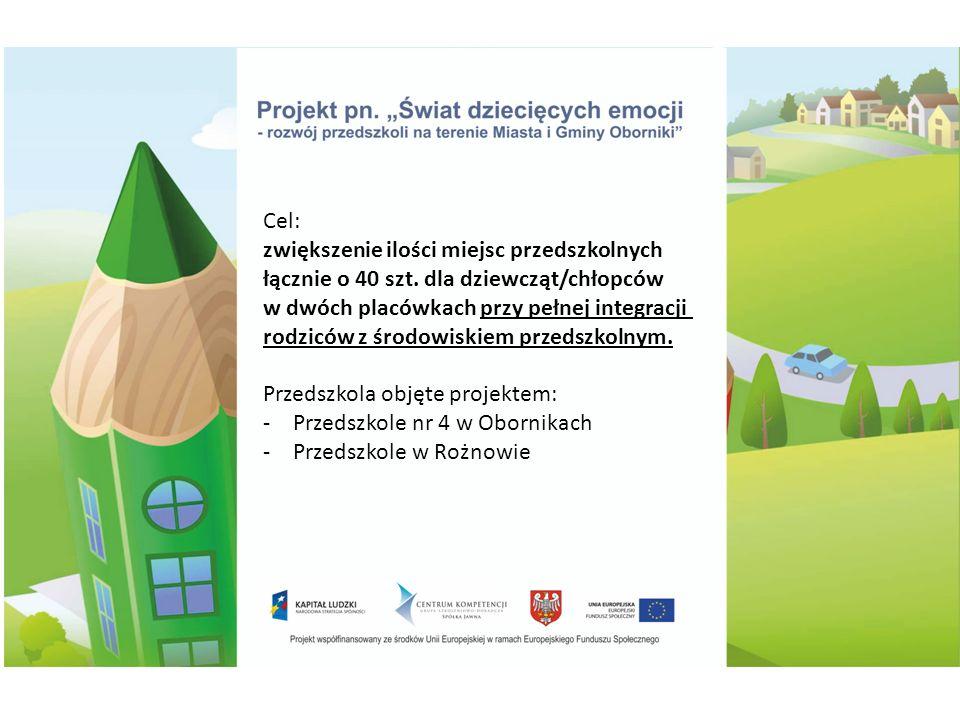 Ilość dzieci objętych Projektem - 46 (w tym 2 rezygnacje) Publiczne Przedszkole w Rożnowie 21 dzieci (14 dziewczynek/7 chłopów) (w tym 1 rezygnacja) Ilość rodziców objętych Projektem- 45 os.