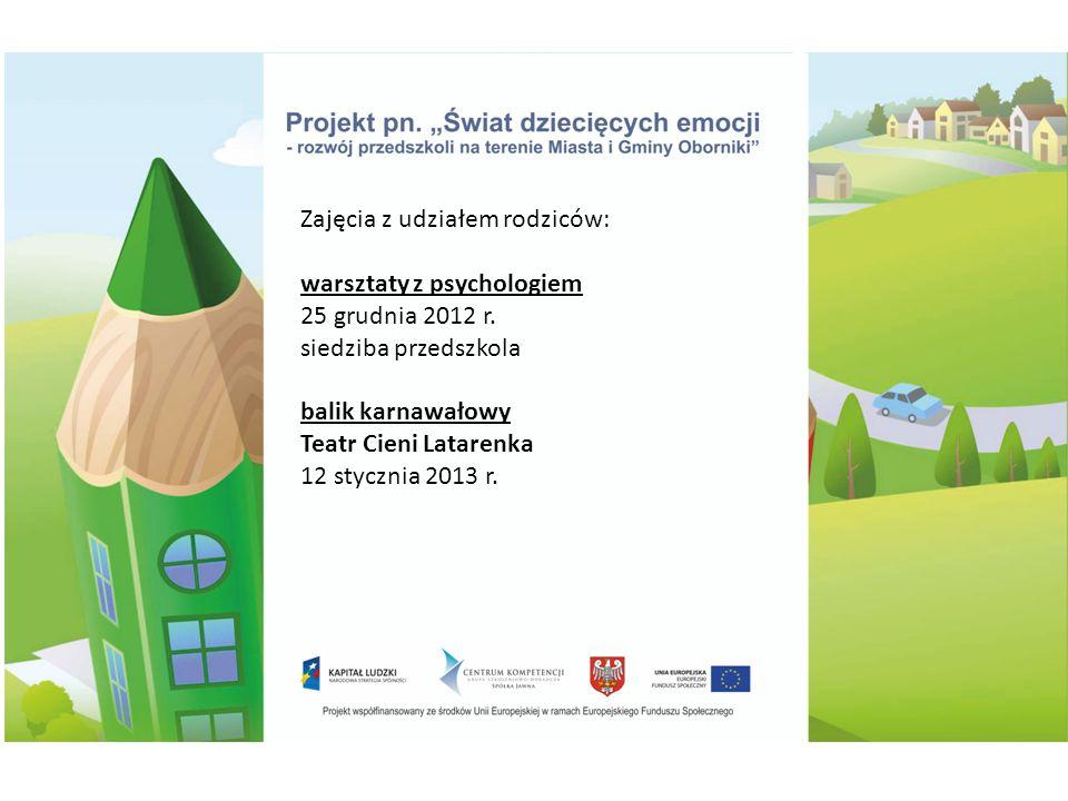Zajęcia z udziałem rodziców: warsztaty z psychologiem 25 grudnia 2012 r.