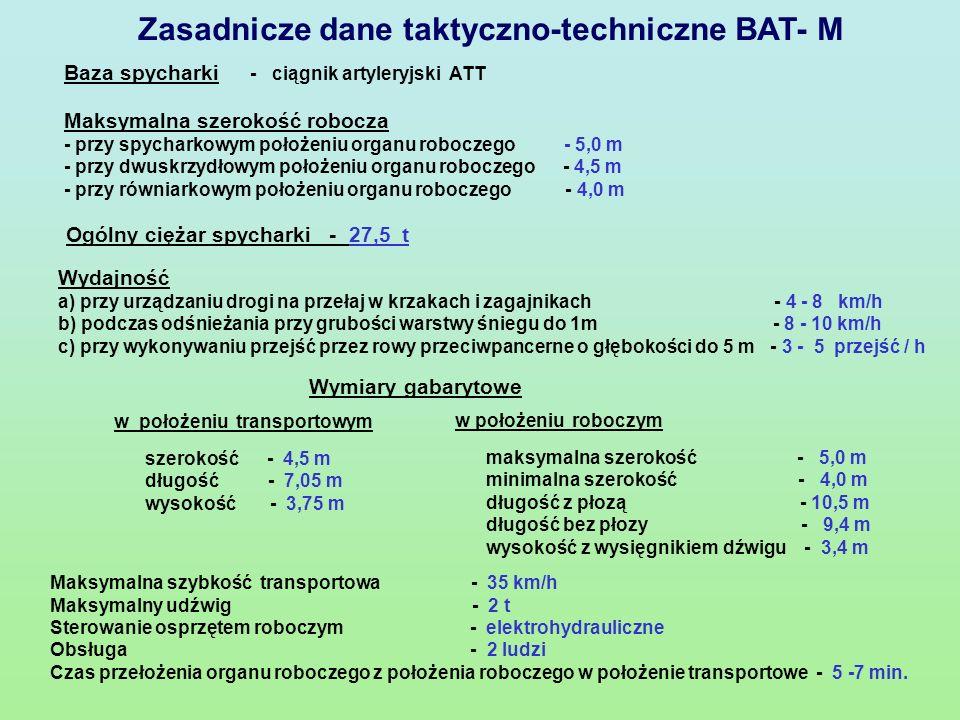 Spycharka BAT- M jest przeznaczona do mechanizacji prac inżynieryjnych przy urządzaniu dróg na przełaj.
