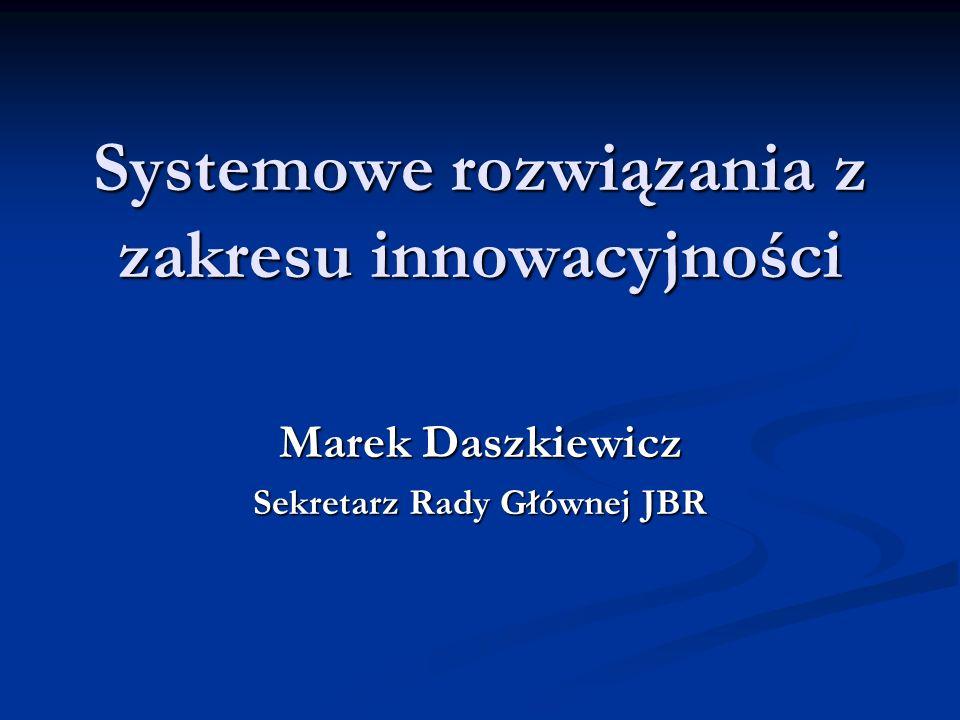 Systemowe rozwiązania z zakresu innowacyjności Marek Daszkiewicz Sekretarz Rady Głównej JBR
