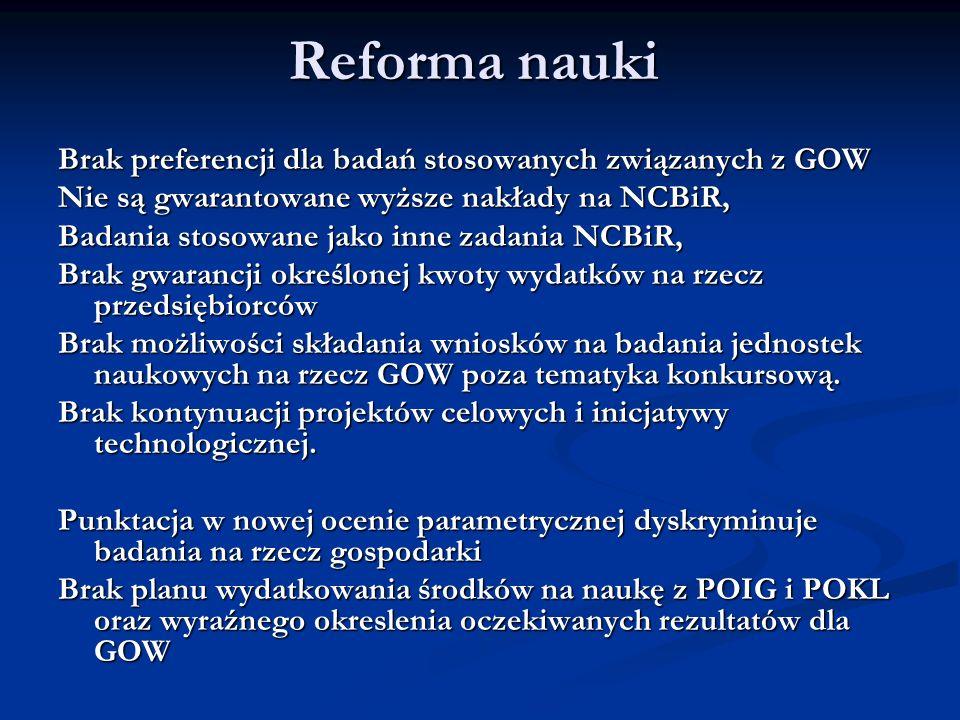 Reforma nauki Brak preferencji dla badań stosowanych związanych z GOW Nie są gwarantowane wyższe nakłady na NCBiR, Badania stosowane jako inne zadania
