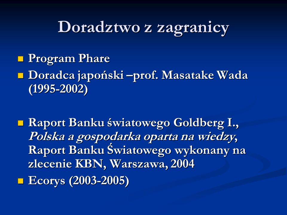 Doradztwo z zagranicy Program Phare Program Phare Doradca japoński –prof. Masatake Wada (1995-2002) Doradca japoński –prof. Masatake Wada (1995-2002)