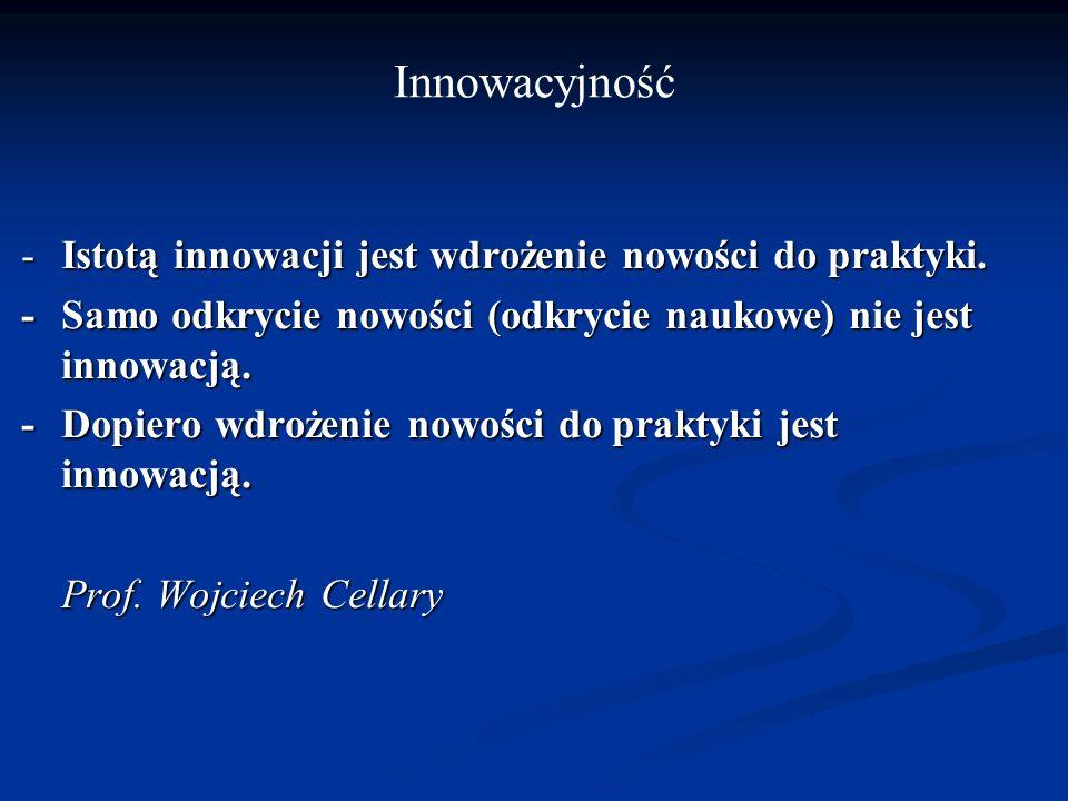 -Istotą innowacji jest wdrożenie nowości do praktyki. -Samo odkrycie nowości (odkrycie naukowe) nie jest innowacją. -Dopiero wdrożenie nowości do prak